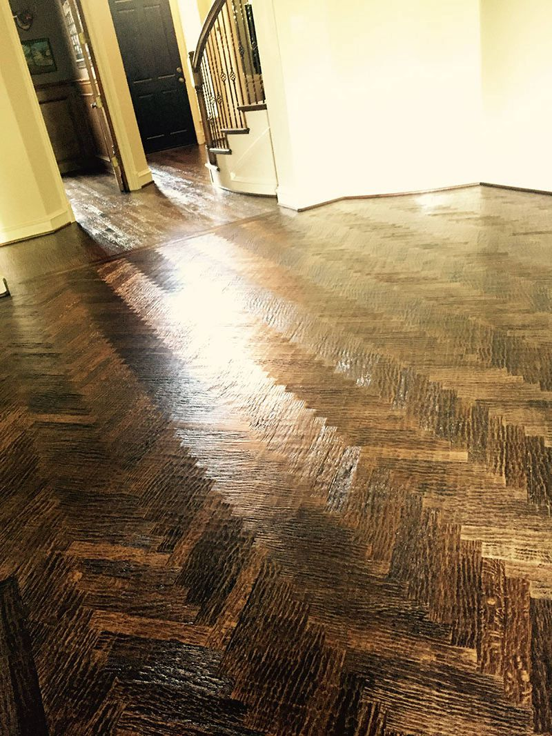 Hand scraped wood tile - Custom Milled Herringbone Pattern Rift And Red Oak And Colonial Walnut Border Hand Scraped Against The Grain Custom Stain Ratio And Water Based Finish